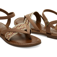 TOFFEE CANVAS EMBROIDERY WOMEN'S LEXIE SANDALS