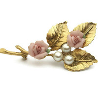 Pink Porcelain Rose Faux Pearl Brooch Gold Tone Leaves Victorian Style Floral Pin Romantic Pale Pink Flowers