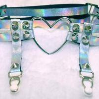 Holographic Heart Thigh Garter