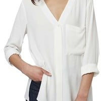 Topshop Slouchy Pocket Long Sleeve Blouse   Nordstrom