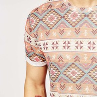 ASOS T-Shirt With Aztec Print In Relaxed Skater Fit