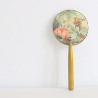 Victorian Hand Mirror Bakelite Handle Hand Painted by Niftic