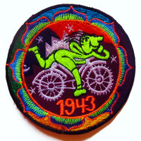 Hofmann LSD Mandala small patch Bicycle Day blacklight 1943 Psychedelic Acid Trip Goa Hippie Visionary Medicine Divine Healing