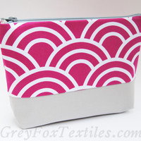 #hot #pink #scallop #gray #cosmetic #case makeup bag. Makes a great gift
