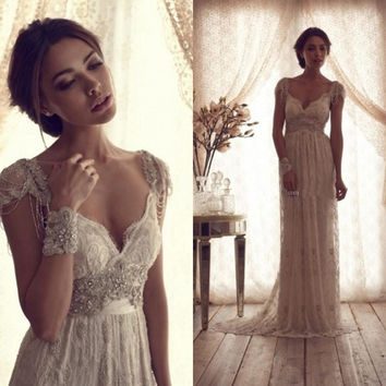 High Quality 2014 Vintage Wedding Dresses Sheer Anna Campbell Lace Bridal Gowns Lace Backless Church Wedding Custom CH-753 = 1932251140