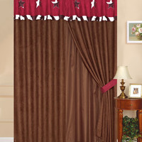 Texas Western Embroidery Star Suede Curtain With Lining Set - Burgundy Cowhide