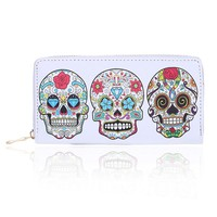 Female Purse Skull Expression Printing Women Wallet Zipper Design Clutch Purse For Woman Ladies Phone Holder Card Holder