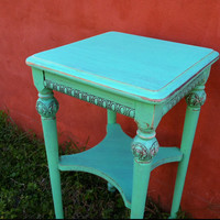 Seafoam / Mint Vintage Side Table by TheWoodress on Etsy