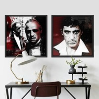 Godfather movie poster Portrait cuadros modern black and white music stars canvas wall art Living room bedroom Home Decor