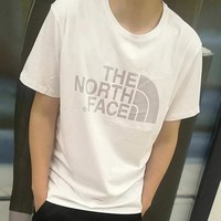 The North Face® Reflective big logo printing short sleeve ice silk cotton breathable leisure sport round collar men's T-shirt