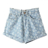 High Waist Flower Print Denim Shorts