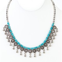 Small Coin Turkish Turquoise Beaded Necklace