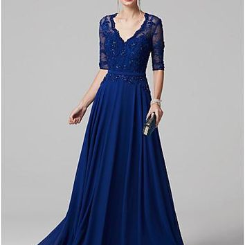 A-Line / Princess V Neck Sweep / Brush Train Chiffon / Lace Bodice See Through Cocktail Party / Prom / Formal Evening Dress with Beading / Sash / Ribbon by TS Couture® / Illusion Sleeve