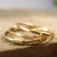 Stacking Ring Hammered Gold with Gold Set of 3