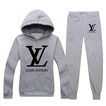 LV  Louis Vuitton Popular Women Casual Print Hoodie Top Sweater Pants Trousers Set Two-Piece Sportswear Rose Red I/A