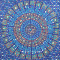 Blue Medallion Mandala Tapestry, Boho Wall Hanging Bed Cover on RoyalFurnish.com