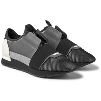 Balenciaga - Leather, Suede and Mesh Sneakers | MR PORTER