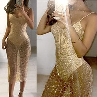 See Through Sequin Bandage Dress 2017 Mesh Patchwork Sleeveless Hollow Out Bodycon Summer Dress Sexy Club Party Dresses