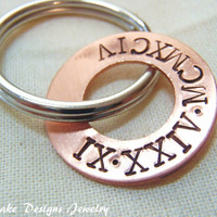 Roman numeral keychain personalized anniversary keychain