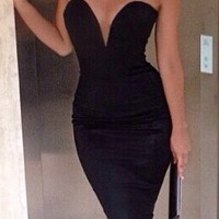 Strapless Deep V Midi Bodycon Dress