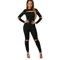 New Fashion Sexy Rompers Women Jumpsuits Black Open Slit Skinny Jumpsuit LC64012 Elegant Bodycon Jumpsuit