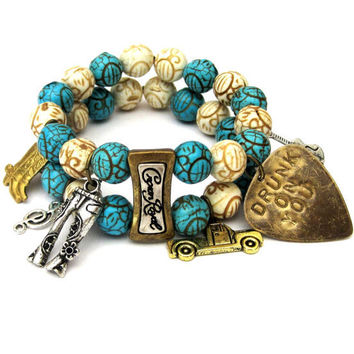 Luke Bryan Drunk On You Inspired Double Stretch Bracelet with Guitar Pick and Charms