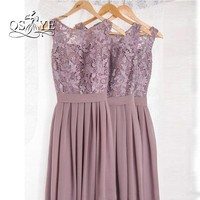 Dusty Mauve Bridesmaid Dresses For Weddings Lace With Applique Pleat Jewel Sleeveless Backless Prom Gowns 2017 Long Formal Wear