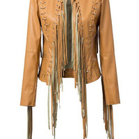 Khaki Long Sleeve Fringed Cropped Leather Jacket