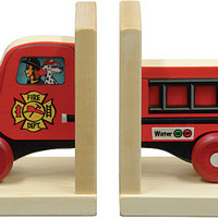 Mighty Drivet Fire Truck Wooden Bookends