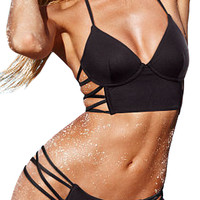 ROMWE Hollow Halter Sheer Black Bikini