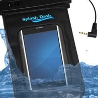 Splash Dash IPX8 100 Percent Waterproof Floating Pouch Case with Waterproof External Earphone/ Accessory Jack for iPhone, Players