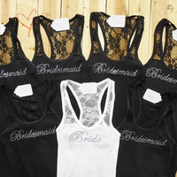 7 Bridesmaid Tank Top. Bride, Matron of Honor, Brides Entourage, Team Bride, Brides Bitches, Mother of the Groom. Bridal Tank Tops.