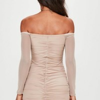 Missguided - Nude Bardot Ruched Mesh Long Sleeve
