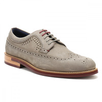Ted Baker Mens Grey Nubuck Fanngo Brogue Shoes