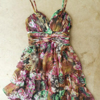 Tiered Watercolors Dress [3884] - $36.00 : Vintage Inspired Clothing & Affordable Summer Frocks, deloom   Modern. Vintage. Crafted.