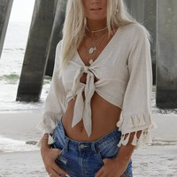 Hermosa Beach Natural Tassel Crop Top
