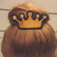 Gold Princess Crown Hair Clip with Crystal Accents - Embroidered Metal Alligator Hair Clips - Hair Clips for Women - Would Make A Fun Gift