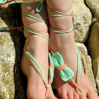 Crochet Barefoot Sandals Bow, Aqua & Coral Nude shoes, Foot jewelry, Wedding, Yoga, Anklet , Bellydance, Steampunk, Beach Pool, Seafoam