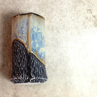 Shot Glass in Blue Crystalline Glaze, Double Shot Sized Porcelain Cup for Unique Barware or Ceramic Bud Vase. 3.25 in. tall. Food Safe
