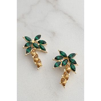Palm Tree Stud Earrings with Crystals