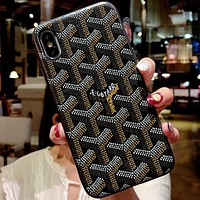 Goyard Tide brand classic iPhone 7 Plus mobile phone shell personality leather hard shell black