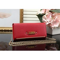 DIOR Trending Ladies Shopping Leather Metal Chain Single Shoulder Bag Satchel Crossbody Red I-MYJSY-BB