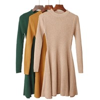 Ribbed Knitted Sweaters Dress