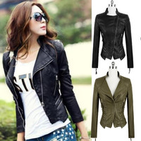 Women Fashion Clothing Autumn Winter Slim PU Leather Motorcycle Coat Zipper Short Jacket Tops Outwear = 1919988292