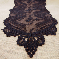 Floral Lace Table Runner, 12-inch, 6-feet, Black