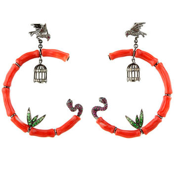 Wendy Yue Coral Birdcage Earrings