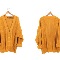 Golden Rod Yellow 80s Cardigan Sweater Button Up Sweater Vintage 1980s Open Stitch Textured Knit Jumper Deep Vneck Boho Hipster Womens Large