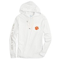 Clemson University Long Sleeve Gameday Hoodie Tee in White by Southern Tide