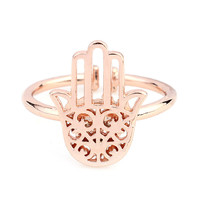 Silver Plated Inner Fatima Hand Rhinestone Finger Rings For Women