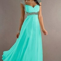 Cyan US8 Chiffon Cap Sleeve Long Formal Prom Dress Party Bridesmaid Evening Gown